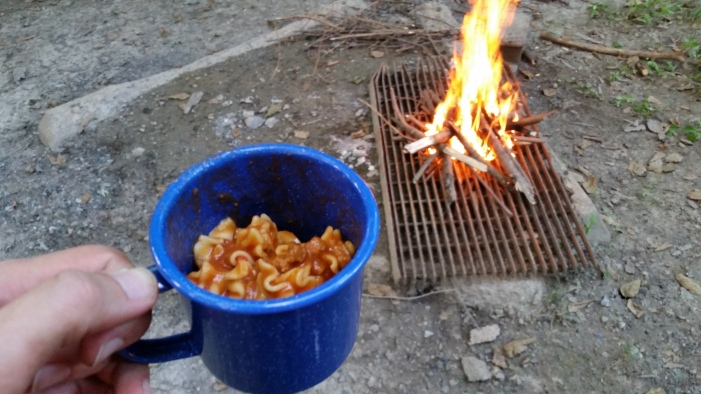 Lasagna in my coffee mug, and my newly-started fire that I hoped would ward off a few insects (it did not).