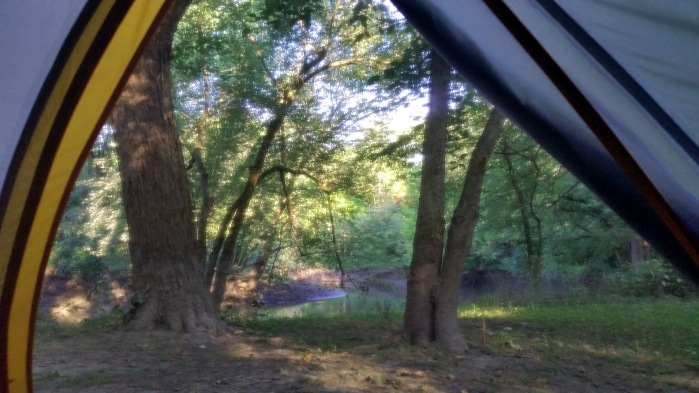 View from inside my tent, overlooking the creek. Definitely my best-ever campsite location (I've almsot always done car camping in the past).